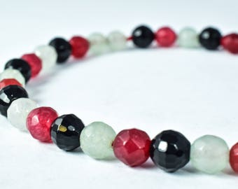 6mm Ruby Clear, Black Faceted Agate Round Beads