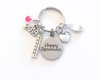 Teacher Retirement Gift Keychain, 2018 Principal Teach Secretary Apple Key chain Keyring Retire birthstone Initial letter for her women him