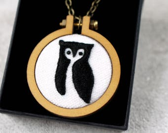 Owl Necklace- Hand Embroidery- Owl gifts- Embroidered necklace- Owl pendant- Owl embroidery- Owl lover gift- Owl jewellery- Mothers day gift