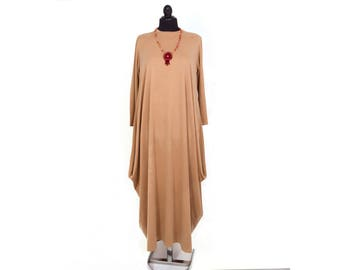 Sale -Abaya casual dress  evening dress casual maxi long sleeve loose  , Tan color
