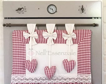kitchen oven curtains, country oven cover for coordinated kitchen, gingham oven curtain panel