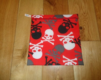 Sandwich bag  - Baggie - Eco - Snack Bag - Bikini Bag - Lunch Bag - Tool Bag - Large Poppins Waterproof Lined Zip Pouch - Red Multi Skull