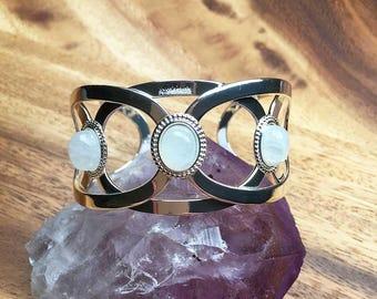Rainbow Moonstone Bracelet Moonstone Jewellery Moonstone Bangle Adjustable Bracelet Torque Bracelet Womens Bracelet Gift For Her SPB52