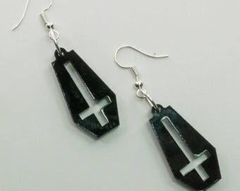 Laser Cut Black Acrylic Upside Down Cross Coffin Earrings