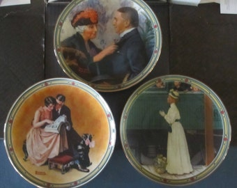 Norman Rockwell Collector plate set of 3 in box Knowles certified Rockwell's American Dream