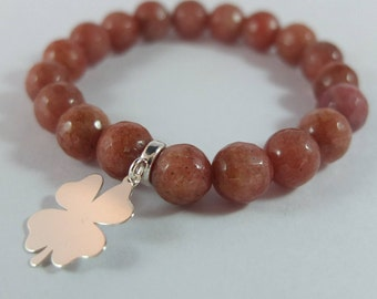 Semi precious stones bracelet, brown chocolate faceted jade, beaded bracelet, sterling silver clover pendant