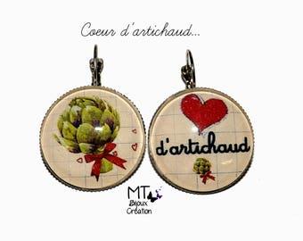 """Mismatched earrings """"Artichoke heart"""""""
