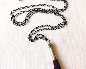Purple Tassel Necklace-.22 -Mixed Metal