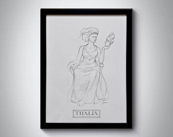 The Muses Series - Thalia: The Muse of Comedy - A3 Framed Pencil Drawing