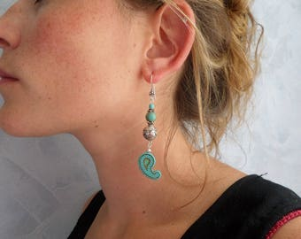 Silver earrings, turquoise, Jasper, Paisley, ethnic chic drops
