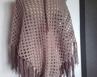 original shawl light braun - hand made - ref Châle 195