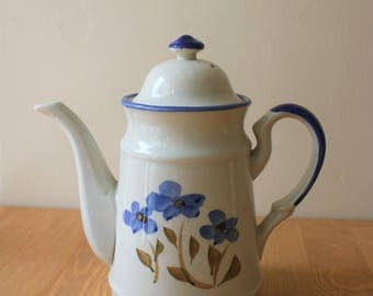 Vintage 1970s Coffee Pot Blue Floral Eggshell Hand Painted
