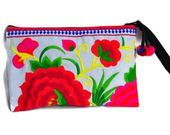 Hill Tribe Handmade Hmong Embroidered  bag Embroidered Thai Boho Small Clutch Purse Bag Handbags Purse Women bag  Thai Cotton Bag