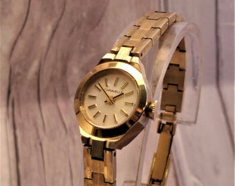 Caravelle by Bulova Womens Watch, Ladies Gold Mechanical Time Piece, Gift for Wife, Manual Wind, Signed Crown, Gold Bracelet Watch, 1970s