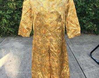 Vintage 60s Mod Hippie Tunic Dress 3/4 Sleeve