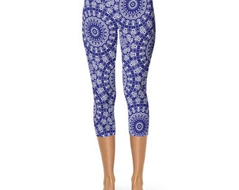 Dark Blue Capri Leggings - Midnight Blue Capris, Short Yoga Pants