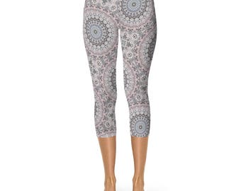 Capri Mandala Pattern Pants - Womens Yoga Leggings, Yoga Pants, Stretch Pants, Mandala Leggings, Printed Leggings