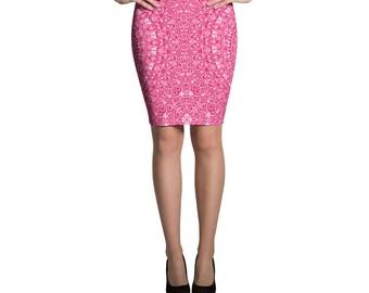 Pink Pencil Skirt, Stretchy Pink Patterned Skirt, Women's Knee Length Skirt