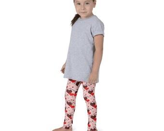 Girls Love Leggings, Hearts Leggings for Girls, Valentine Yoga Pants for Kids, Children's Leggings