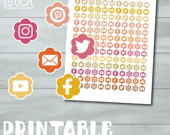 Social Media Printable Stickers  - Perfect for your Erin Condren, Happy Planner or Any Other!