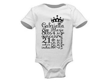 Newborn Baby Stats Onesie