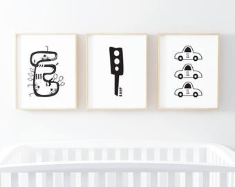 Race Car Wall Art Racing Cars Nursery Prints Set Minimalist Nursery Decor Baby Shower Gift Boys Room Decor Black White Nursery Art Prints