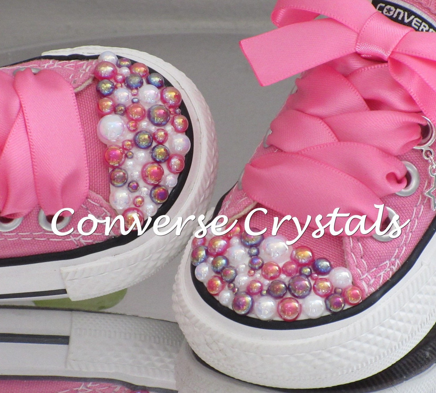 Unique customised infant pearl toe bling converse sizes 2 10 geenschuldenfo Images
