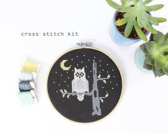 Night Owl - Modern Cross Stitch Kit - Easy DIY Cross Stitch Kit
