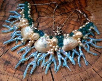 "Shells for""honeymoon"" necklace, wedding, vacation, mermaid costume!"