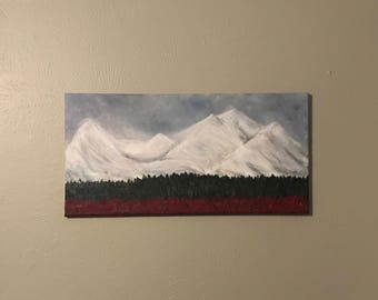 Acrylic Snowy Mountain Abstract Painting on 12x24 Canvas - Original & Handmade