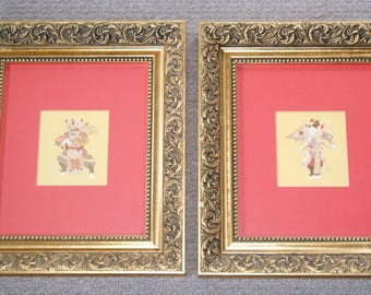 2 x Chinese Traditional Paper Hand Cut & Painted Figurines in Elaborate Gilded Frames