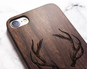 Real Wood iPhone 8 stag /antlers case also for X SE 5s 5 6 6s 7 and 7 Plus 8 Plus Case iPhone 8 Case Samsung Galaxy S6 S7 S8 Plus Real Wood