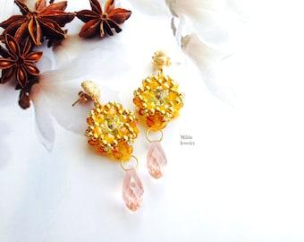 Dangle bead earrings, gold earrings, beaded earrings, gold, pink seed bead earrings, chandelier dangle drop earrings, beadwork jewelry