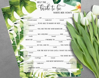 Help the bride to be to write hew vows - bridal mad libs - bridal shower games - Tropical bridal shower games - Printable bridal shower game