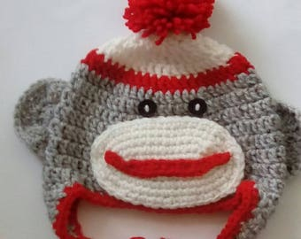 Crochet Sock Monkey Hat, for Baby, Toddler, Kid, Boy, Girl. Sock Monkey, Crochet Hat