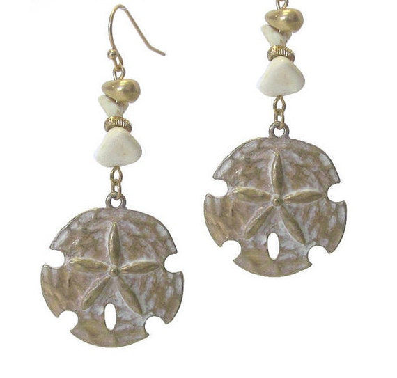 Brushed Sand Dollar Earrings, Antique Bronze, Silver or Gold
