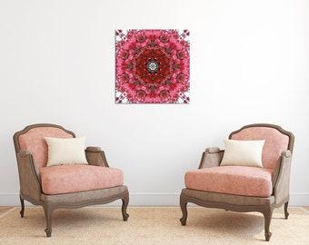 Floral Mandala Art Canvas Print ~ Feng Shui Wall Decor ~ Bougainvillea Wall Art ~ Modern Home Accessories ~ Unique Gift ~ Inspirational Art
