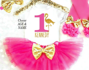 Flamingo Birthday Outfit 1st Birthday Outfit Luau First Birthday 2nd Birthday Outfit Pink Birthday Tutu Tropical Birthday Outfit ANY AGE