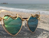 SAGE Green & Gold Wire Wrap Reflective HEART Sunglasses Eyewear Sunnies / Hippie Boho Festival EDC Electric Forest Bonnaroo Glasses / New