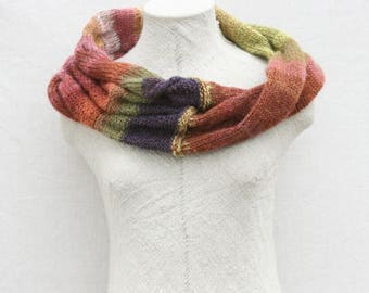 Christmas gift / Wool hand-knit wrap scarf / Mobius scarves / Bulky knit mohair scarf / Convertible infinity cowl - Purple Avens 2