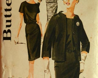 Uncut 1960s Butterick Vintage Sewing Pattern 3012, Size 16; Misses' and Women's Raglan Sleeved Dress and Jacket