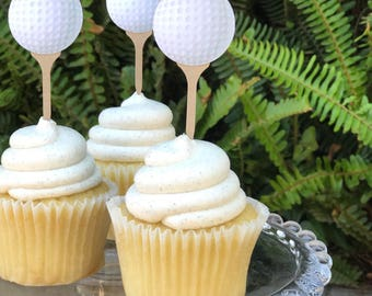 Golf Ball Cupcake Toppers- Golf Cupcake Toppers- Golfing Party Decorations- Ball Themed Party- Sports Birthday - Golf Baby Shower