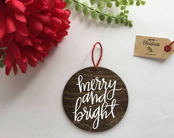 Merry and Bright Rustic Christmas Ornament