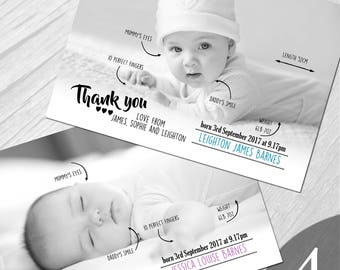 Personalised New Baby Photo Thank You Cards Boy Girl Birth Announcement Printed on 350gsm card NB4