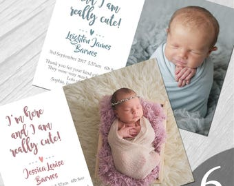 Personalised New Baby Photo Thank You Cards Boy Girl Birth Announcement Printed on 350gsm card NB6