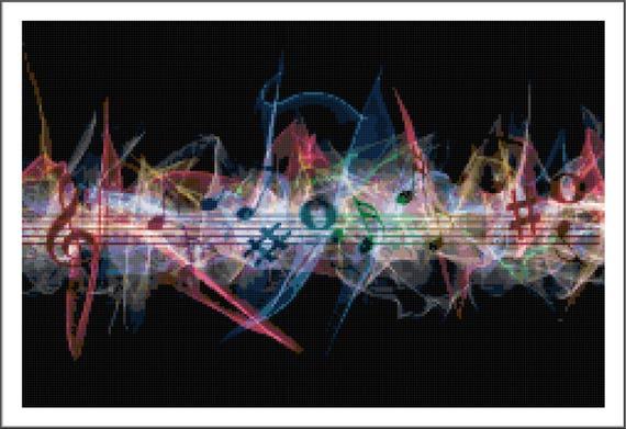 Music Fractal Cross Stitch Printable Needlework Pattern