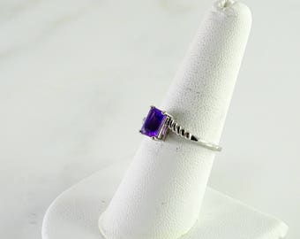 Purple Stone Sterling Ring Size 8