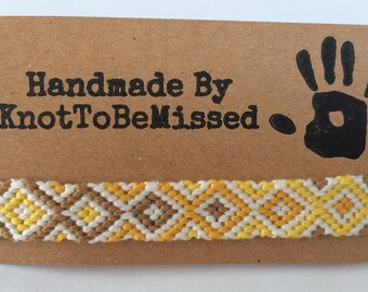Handmade Woven Macrame Diamond Friendship Bracelet Honey Mustard Yellow White