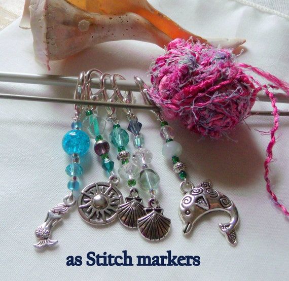 Aqua ocean themed zipper pulls - dolphin hand bag  gift - Stitch markers for knitting and crochet - shells - mermaid - journal charm