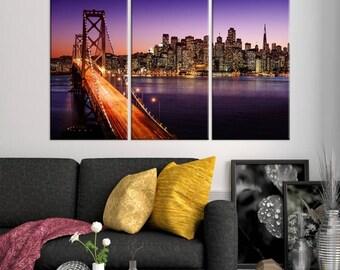 Large Wall Art San Francisco Canvas Print - Bay Bridge and Skyscrapers Behind